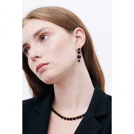 Square glittered black and marbeled and little round half pink and marbeled stones french hook earrings