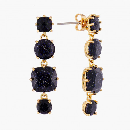 Square glittered black and marbeled and little round half pink and marbeled stones earrings