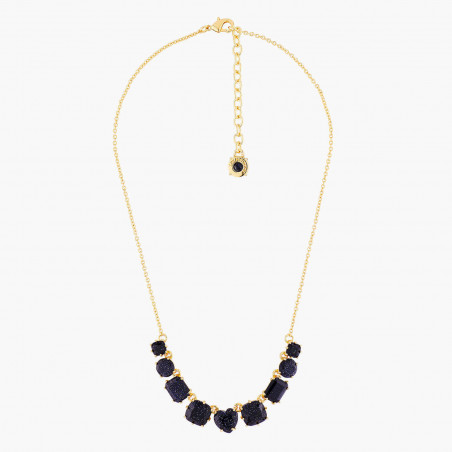 Glittered midnight blue ballerina long necklace