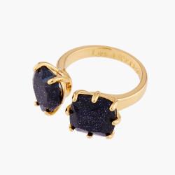 Bagues Ajustables Bague ajustable toi et moi pierres cœur et carré la diamantine bleu nuit pailleté70,00€ AMLD618/1Les Néréides