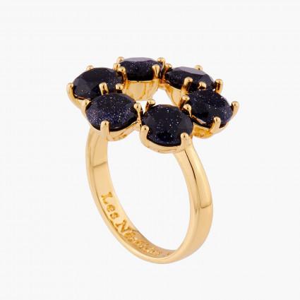 Bagues Fines Bague fine 6 pierres la diamantine bleu nuit pailleté70,00€ AMLD619/1Les Néréides