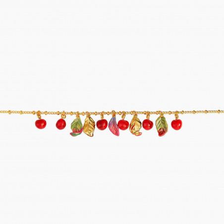Bague ajustable oiseau multicolore et fleur rose sur pierre
