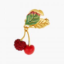 Cherries And Leaves Brooch