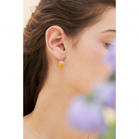 Faceted glass, little flower and berries earrings