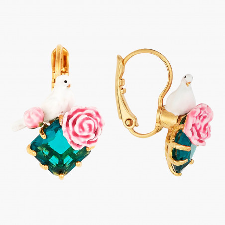 Faceted glass and charms clip earrings