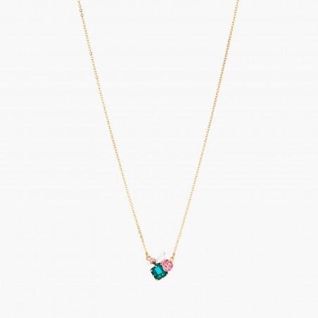 Sautoir luxe pierres rondes blanc opale