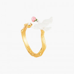 Dove And Peony Adustable Ring