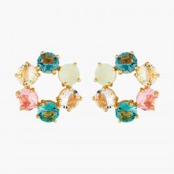 Boucles D'oreilles Creoles Créoles tiges 6 pierres la diamantine acqua azzura80,00€ ANLD142T/1Les Néréides
