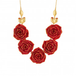 Colliers Collier Plastron Mutli Roses Rouges
