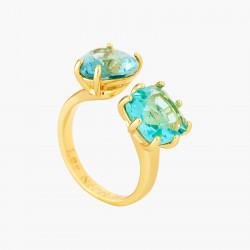 Bagues Ajustables Bague toi et moi pierres cœur et carrée la diamantine acqua azzura70,00€ ANLD618/1Les Néréides