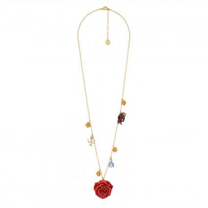 Colliers Sautoir Rose Rouge Et Pampilles La Belle, La Bête Et Chandelier