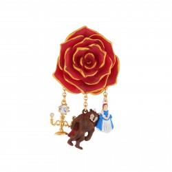 Accessoires Broche Rose Rouge Et Pampilles La Belle, La Bête Et Chandelier
