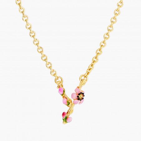 Boucles d'oreilles chihuahua sur branche fleurie et grappe de perles