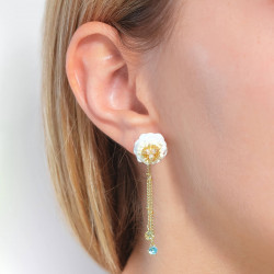 Mushrooms and ladybrids on stone clip earrings