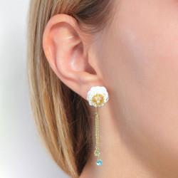 Boucles d'oreilles clip champignons et coccinelles sur pierre