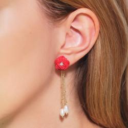 Boucles d'oreilles clip petit écureuil et boutons sur verre taillé
