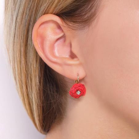 Boucles d'oreilles clip lapin blanc pailleté, fleur rose au pistil strassé et petites pampilles