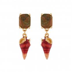 Boucles D'oreilles Pendantes Boucles D'oreilles Pierre Rectangulaire Et Coquillage85,00€ AICE106T/1Les Néréides