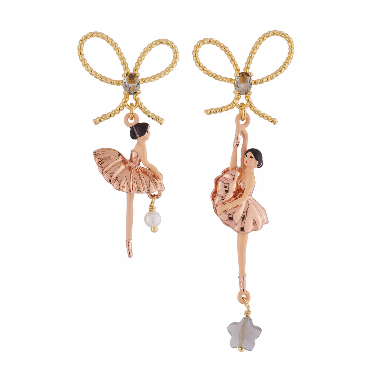 Discover Our Pink Gold Asymmetrical Ballerina Earrings This Piece Of Jewellery Is Made Up Ballerinas Delicately Hand Enamelled Br In Pure