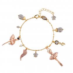 Bracelets Charms Bracelet Ballerine Or Rose Et Pampilles