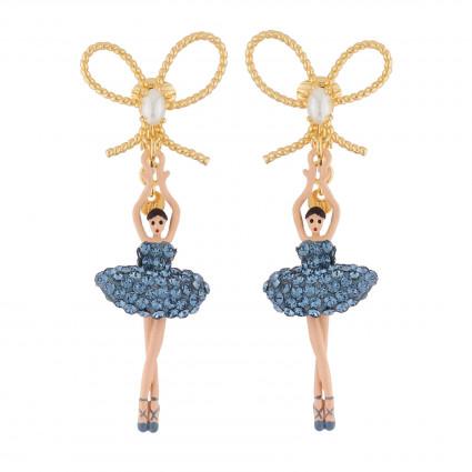 Boucles D'oreilles Clip Boucles D'oreilles Clip Nœud Et Ballerine Au Tutu Pavé De Strass Bleu Jean
