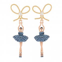 Boucles D'oreilles Pendantes Boucles D'oreilles Nœud Et Ballerine Au Tutu Pavé De Strass Bleu Jean110,00€ AIDDL108T/2Les Nér...