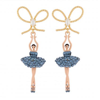 Boucles D'oreilles Pendantes Boucles D'oreilles Nœud Et Ballerine Au Tutu Pavé De Strass Bleu Jean