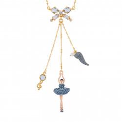 Colliers Pendentifs Collier Ballerine Au Tutu Pavé De Strass Bleu Jean Et Clef De Sol