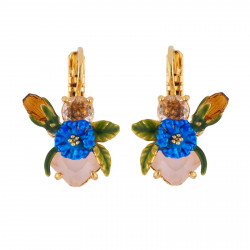 Boucles D'oreilles Dormeuses Boucles D'oreilles Petite Fleur Bleue Et Feuilles Sur Verre Taillé