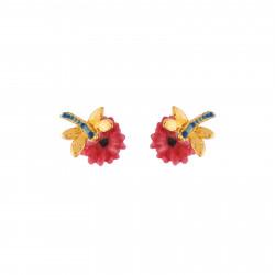 Boucles D'oreilles Tiges Boucles D'oreilles Petites Fleurs Roses Et Libellule