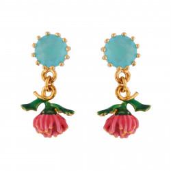 Boucles D'oreilles Pendantes Boucles D'oreilles Verre Taillé Bleu Et Anémone Rose