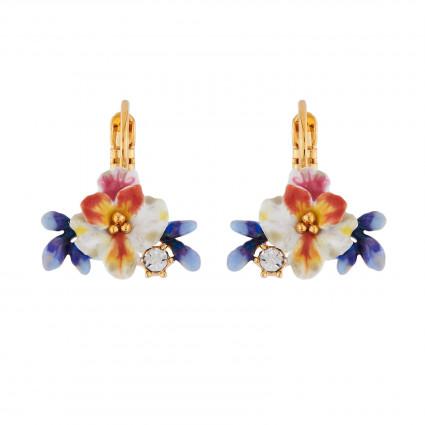 Boucles D'oreilles Dormeuses Boucles D'oreilles Dormeuses Fleur Blanche, Boutons Bleus Et Strass