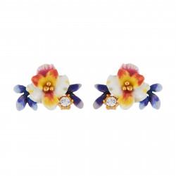 Boucles D'oreilles Tiges Boucles D'oreilles Fleur Blanche, Boutons Bleus Et Strass