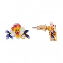 Boucles D'oreilles Tiges Boucles D'oreilles Fleur Blanche, Boutons Bleus Et Strass85,00€ AIFM105T/1Les Néréides