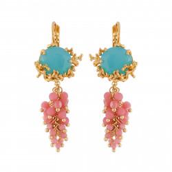 Boucles D'oreilles Clip Boucles D'oreilles Clip Verre Tailé Bleu, Branches De Coraux Dorés Et Grappe De Perles