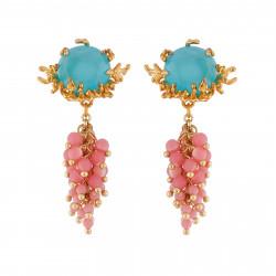 Boucles D'oreilles Pendantes Boucles D'oreilles Verre Taillé Bleu, Branches De Coraux Dorés Et Grappe De Perles