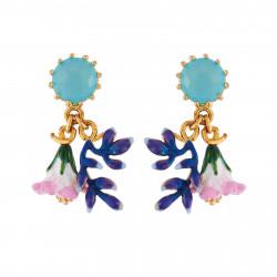 Boucles D'oreilles Pendantes Boucles D'oreilles Verre Taillé Et Duo De Fleurs Rose Et Bleue