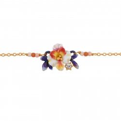 Bracelets Fins Bracelet Fleur Blanche Et Boutons Bleus