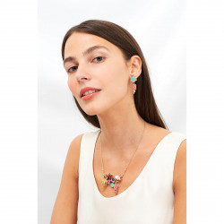 Colliers Plastrons Collier Fleurs Tachetées, Dorées Et Roses, Verre Taillé Et Grappe De Perles