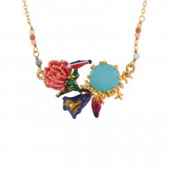 Colliers Fins Collier Petit Poisson Sur Anémone, Fleurs Et Verre Taillé Bleu