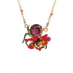 Colliers Pendentifs Collier Fleur Exotique Et Verre Taillé