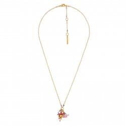 Colliers Pendentifs Collier Fleurs Jaune Et Rose Et Petites Pampilles