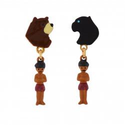 Boucles D'oreilles Boucles D'oreilles Clip Asymétriques Baloo, Bagheera Et Mowgli