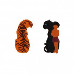 Boucles D'oreilles Boucles D'oreilles Asymétriques Shere Khan Et Duo Mowgli-bagheera