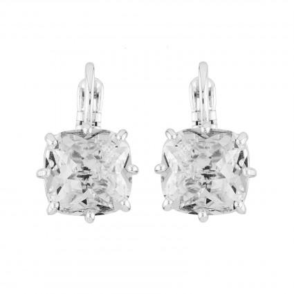 Boucles D'oreilles Dormeuses Dormeuses Petite Pierre Carrée Silver Cristal50,00€ AILD101D/3Les Néréides