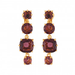 4 Plum Stones Clip-on Earrings