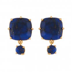 Boucles D'oreilles Clip Boucles D'oreilles Clip Pierre Carrée Et Petite Pierre Ronde Bleu Nuit Aux Éclats Dorés