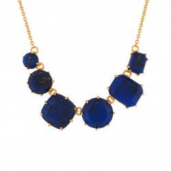 Colliers Fins Collier 6 Pierres Bleu Nuit Aux Éclats Dorés