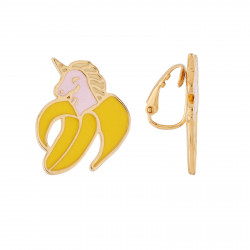 Boucles D'oreilles Boucles D'oreilles Clip Asymétriques Licorne-banane Et Licorne-cornet De Glace