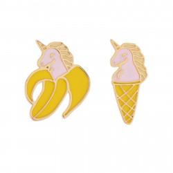 Boucles D'oreilles Boucles D'oreilles Asymétriques Licorne-banane Et Licorne-cornet De Glace